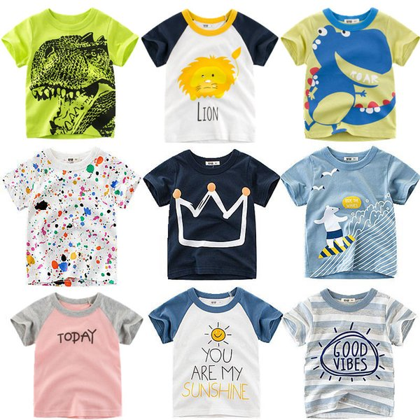 Summer Kids Boys T Shirt Crown Print Short Sleeve Baby Girls T Shirts Cotton Kidss T Shirt O Neck Tee Tops