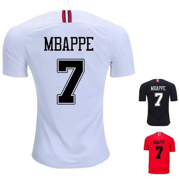 Mbappé NEYMAR şampiyonlar ligi Oyunu siyah beyaz futbol formaları 2019 Thail Quanlity Paris JR aziz germain kırmızı futbol gömlek