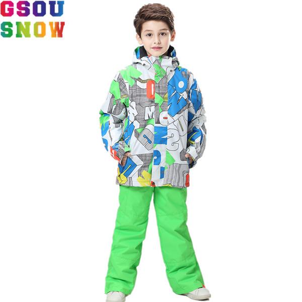 GSOU SNOW Brand Ski Suits Children Kids Unisex Boys Girl Warm White Wholesale Cheap Ski Snowboard Sets Suit Windproof Long Light
