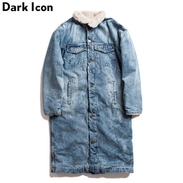 DARK ICON Cashmere inside Denim Long Jackets Men Women