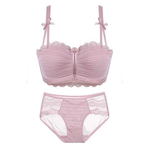 2018 floral wireless sexy bras lace lightly lined triangle bra set underwear women lingerie deep plunge V neck new arrival