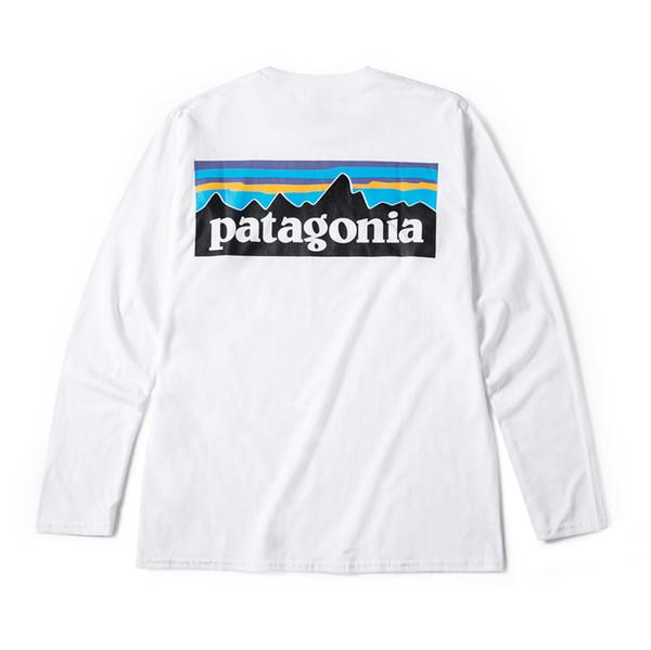 Montaña patagonia diseñador de los hombres de la camiseta blanca Primavera Otoño impresión de la manera camisetas Manga larga Tops Tees