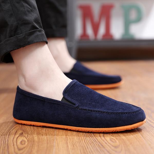 2019 Tembel Slip-on Rahat Ayakkabılar erkek Kanvas Ayakkabılar Eski Pekin Bez Loafer'lar Ucuz Açık Düz Sürüş 10 Renk