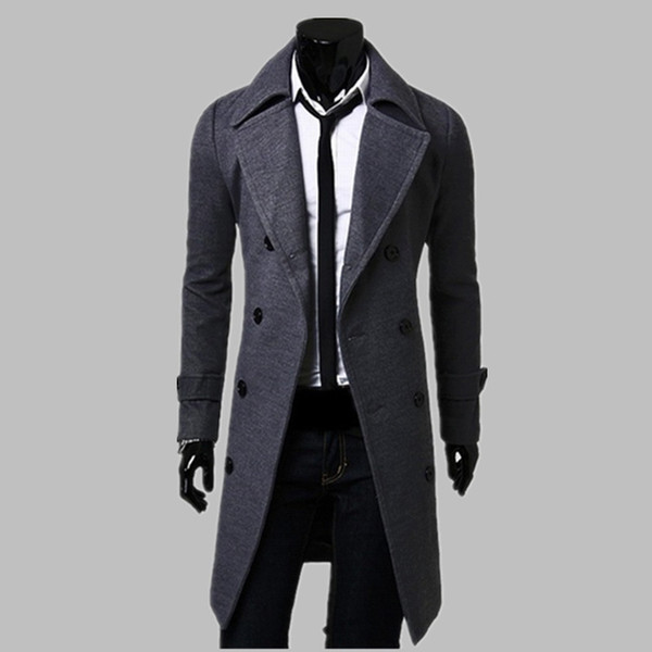 New Fashion Trench Coat Men Long Coat Winter Famous Brand Mens Overcoat Double-Breasted Slim Fit Men Trench Coat Plus Size