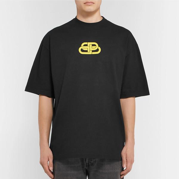 19SS BLCG BB Logo Kilit Baskılı Tee Podyum Sokak Kaykay Klasik T-shirt Erkek Kadın Kısa Kollu Yaz Boy Tee HFYMTX597