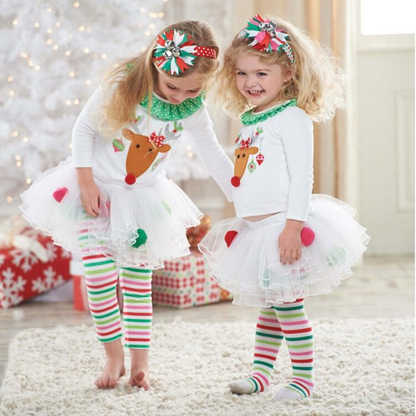New chegou bebê meninas natal casa desgaste crianças crianças menina conjuntos de roupas de natal camiseta + saia calças 2 pcs baby girl presente hot sal