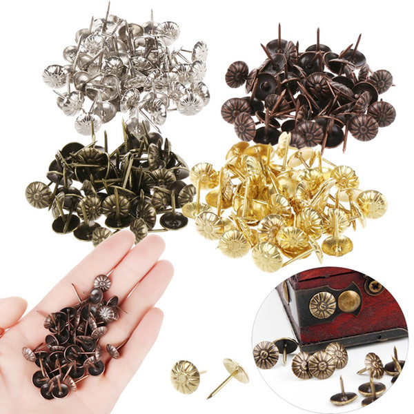ome Improvement 50PCS Bronze Tacks Antique Decorative Jewelry Gift Wine Case Box Push Pin Door Nail For Fasteners Hardware Sofa Decorativ...