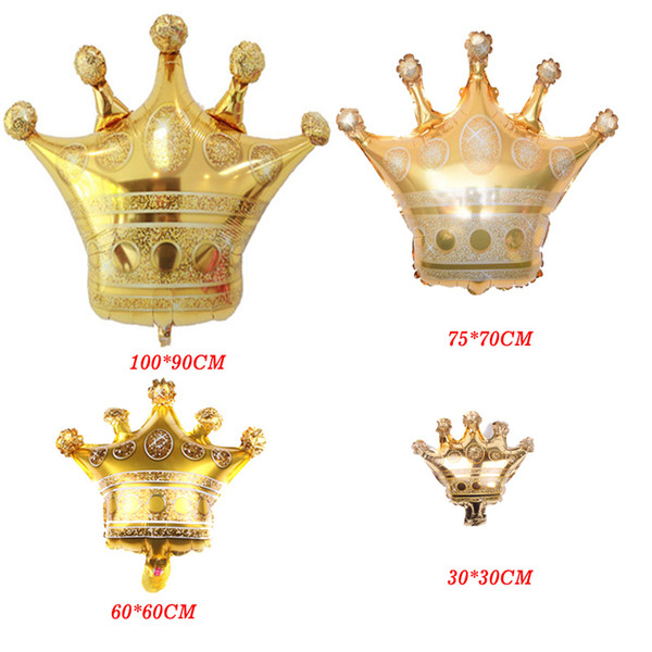 Large Gold Crown helium balloon princess crown foil balloons for happy birthday wedding party baby decoration