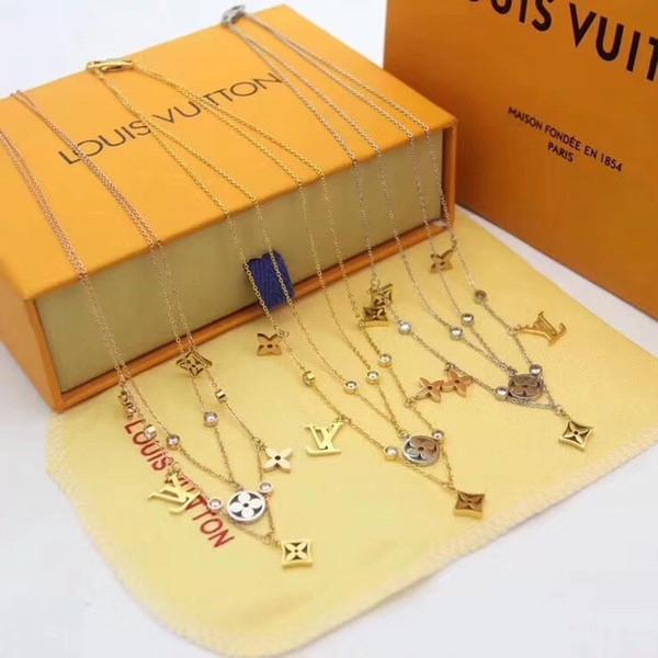 Milyoner Moda Stil Çift Kolye kolye Designersss kadınlar Onurlu kolye Stiller Ladys kolye takı
