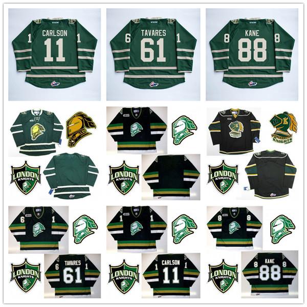 Özel jersey Erkekler 'CHL Londra Knights OHL Premier Otantik Hokey Formaları Uzakta Siyah Yeşil Özelleştirilmiş vintage Dikişli Logolar işlemeli