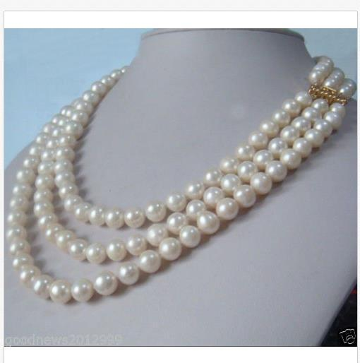 "3 Strands Natural 9-10mm Akoya White Pearl Necklace 18-19-20"" 14K Gold Clasp"
