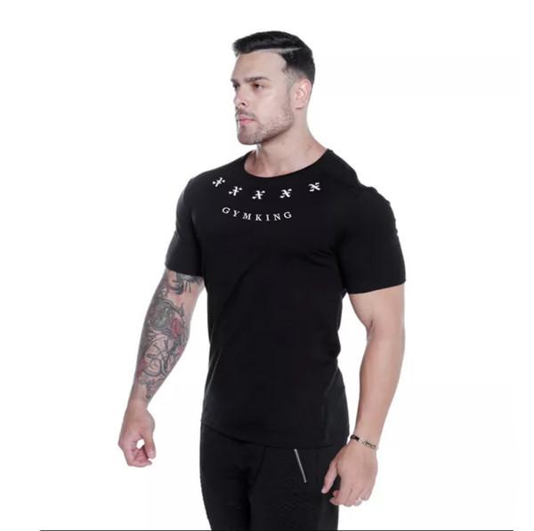 2019 yeni moda erkek Fitness Spor T-shirt Eğlence Pamuk Elastik Kısa kollu Çalışan Geçirgen Baskı spor salonu t-shirt