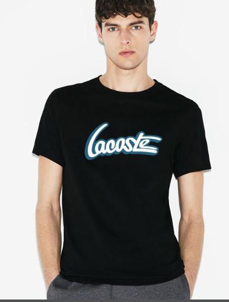 Moda de negocios estilo hombres de manga corta camiseta de verano de impresión de la letra del bordado de los hombres de alta calidad de reparación de la camisa de la tienda venta