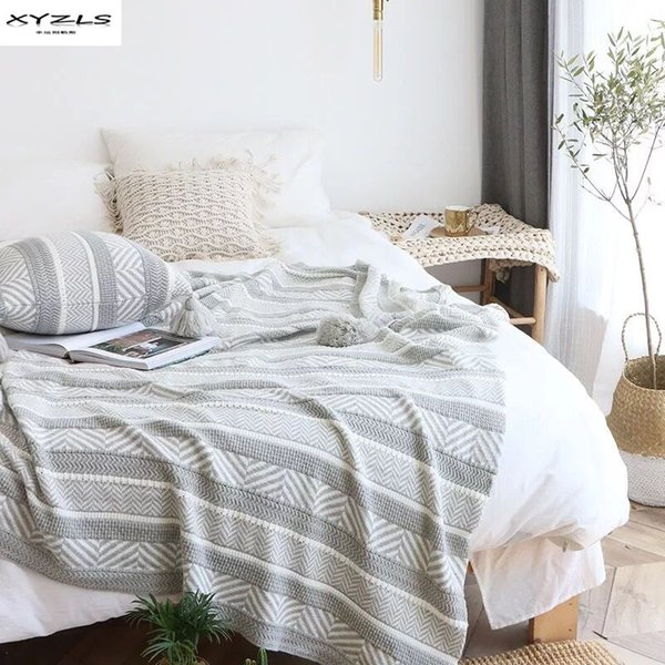 Cotton Thread Blanket With Tassels Grey White Geometric Throw Blanket For Bed Sofa Cover Home Travel Knitting 130x180cm