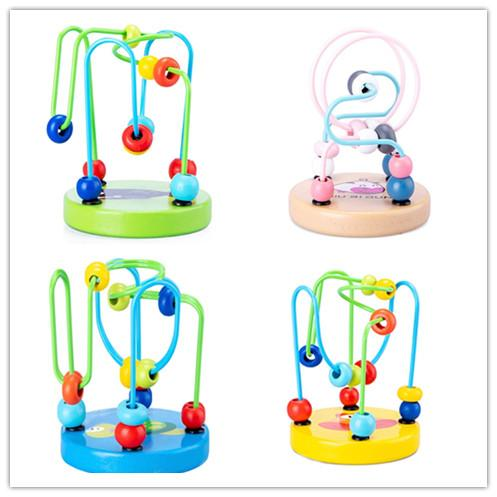 Wooden First Bead Maze Roller Coaster Wooden Educational Circle Toy for Toddlers Classic Developmental Toy for Babies 1 - 2 Year Olds