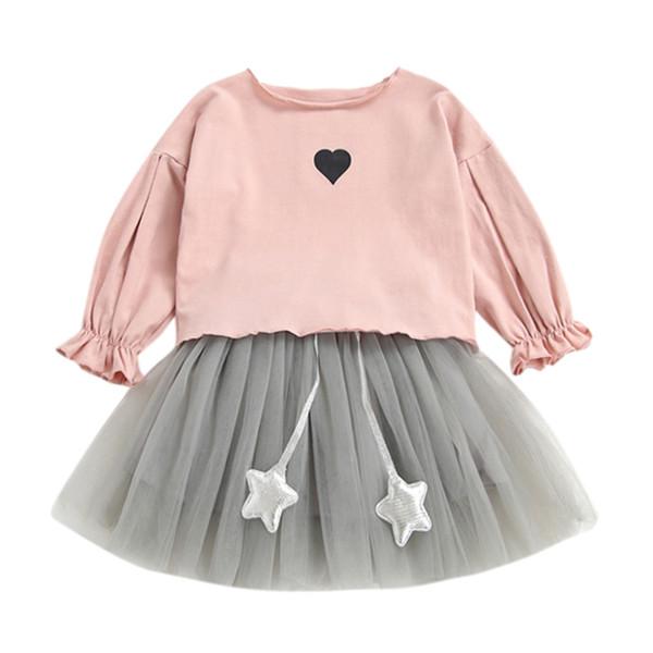 MUQGEW Baby Girl Clothes Set Newborn Infant Girl Heart Printed Shirt Tops+Tutu Tulle Skirt 2Pcs Children Summer Clothes Set