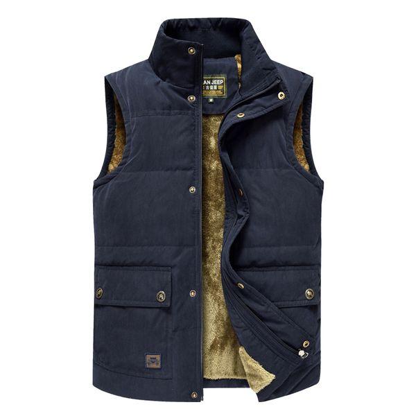2019 winter hiking mountaineering vest men's jacket sleeveless jacket men's warm jeep vest wool wool army green ve thumbnail