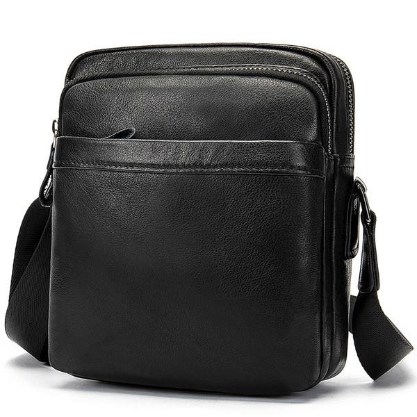 Mens High Quality Black Shoulder Bag for Man Genuine Cow Leather Men Business Messenger Bag Zipper Design Solid Crossbody Bags