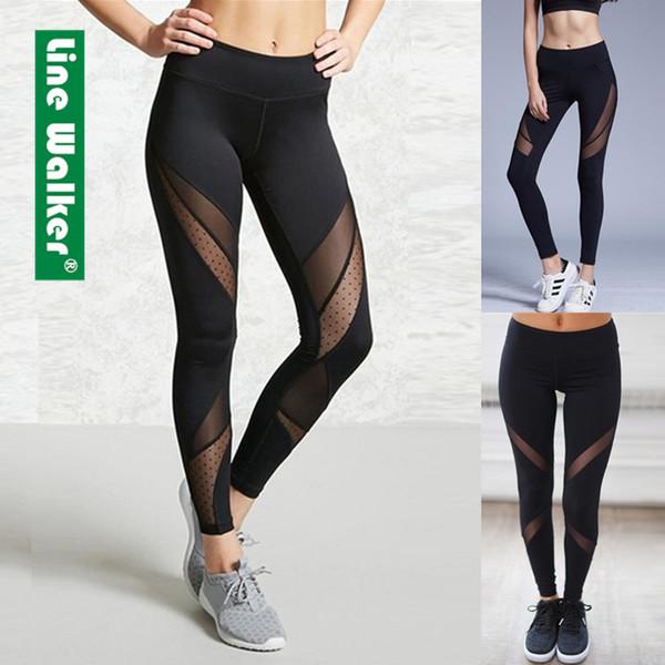 705ddb8e201c9 Yoga Pants Women Leggings Fitness Mesh Patchwork Push Up Legging Gym Booty Sport  Tights Sportswear Running