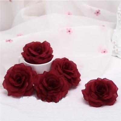 8 centimetri Burgundy Rose testa di fiore artificiale per di matrimonio auto decorazione regalo di San Valentino Day DIY Rosa Orso vini rossi fiori finti