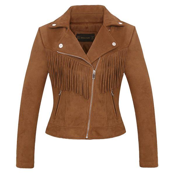 braun Kunstleder Frauen hochwertige Wildlederjacke Frühling Herbst neue Casual Fashion Damen Quaste Mantel Biker Jacke rosa