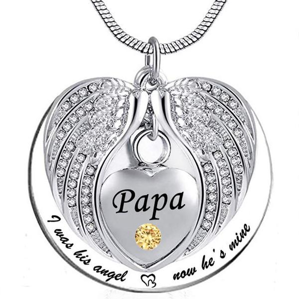 Ангел Крыло Мемориал Памятник Пепел Урны Кулон Камень кристалл Ожерелье, я был его углом, теперь он мой - для папы