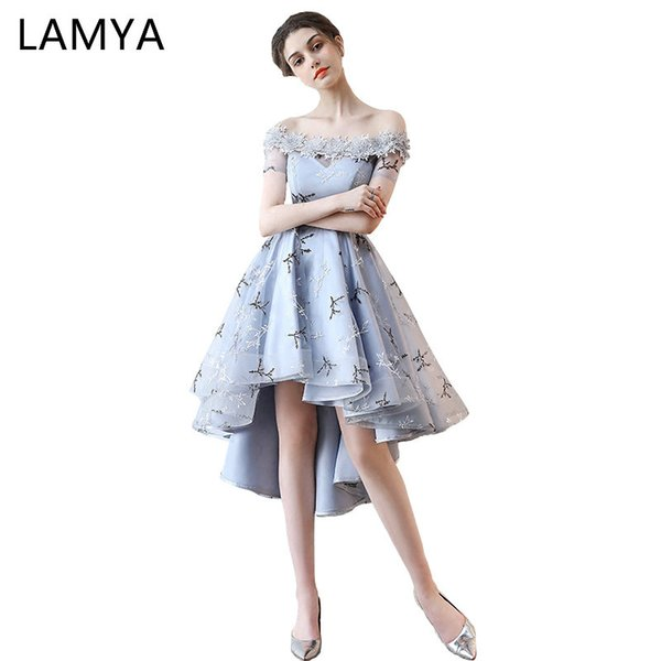 ec6d693e3bab LAMYA Embroidery Prom Dresses Short Front Back Long Tail Banquet Evening  Dress 2019 Formal Party Gown