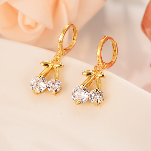 Gold plated cherry with diamonds lovely personality brief dubai Indian dance jewelry earrings wedding engagement souvenir gift