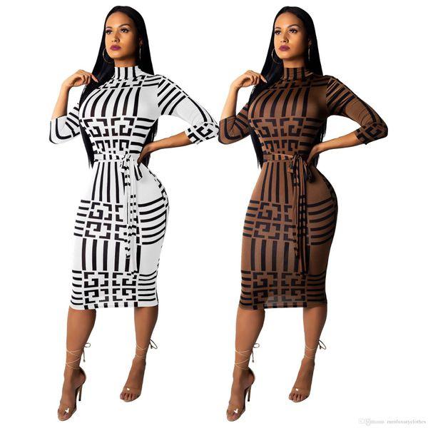 Luxury Women Elegant Dress Autumn GC Slim Fit Bodycon Dress Long Sleeved Skinny Ladies Clothing
