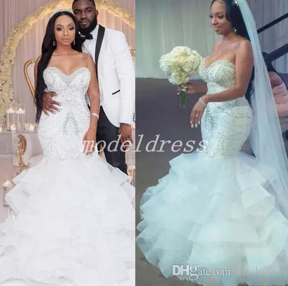 Crystal African Mermaid Wedding Dresses Sweet Heart Backless Tiered Appliques Beads Chapel Garden Country Bridal Gowns vestido de novia 2019