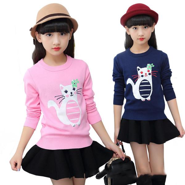 915 Girls Cartoon Print Sweatshirt Hoodies Big Girls Cotton Long Sleeve Sweatshirts Kids Warm Sweater Tops Casual