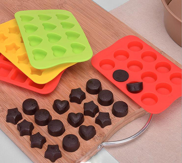 Silicone Ice Cube Tray Multi Colors Round Heart Shaped Star Square Chocolate Mold Kitchen Bar Tools