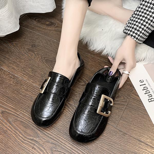 femme 2020 femmes chaussures bout carré boucle appartements glissement sur simple hiver solide confortable deux usures zapatillas mujer