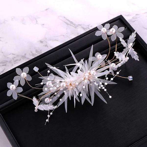 2019 Bridal jewelry handmade beaded flowers gold tiara headband set wedding accessories crown Korean hair accessories