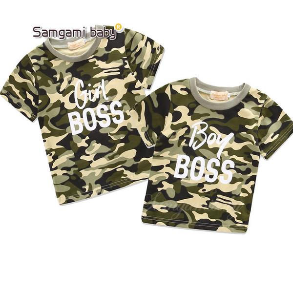 Crianças Tops Tees roupas menino menina Em Torno Do Pescoço carta de camuflagem de algodão de manga curta T-shirt