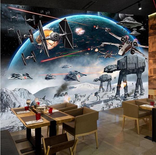 벽 3 D PAPEL Tapiz에 대한 사용자 정의 사진 벽 종이 3D 스테레오 만화 충격 스타 워즈 벽화 키즈 룸 카페 KTV의 배경 화면 배경 화면