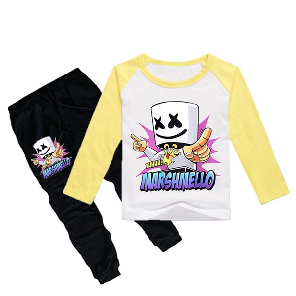 1-12Y Boys Girls long sleeves T-shirt + Trousers 2 Piece Sets DJ Marshmello Printed kids clothing sets kids designer clothes DHL JY105