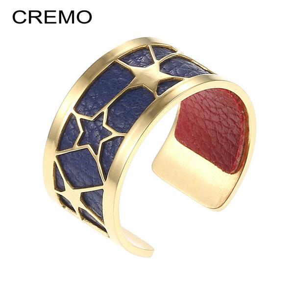 Cremo acciaio inossidabile Star Women Anelli moda Oro Anelli aperti per donna Vintage Bague Femme 12 colori cinturino in pelle reversibile