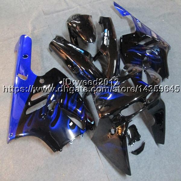 Botls+Custom blue flames ABS motorcycle cowl for Kawasaki Ninja ZX-9R 1994 1995 1996 1997 ZX9R 94-97 motor Fairings