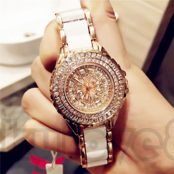 Бесплатный браслет горячая распродажа модные женские часы высокого качества керамический чешский алмаз японский кварцевый механизм водонепроницаемый модные часы