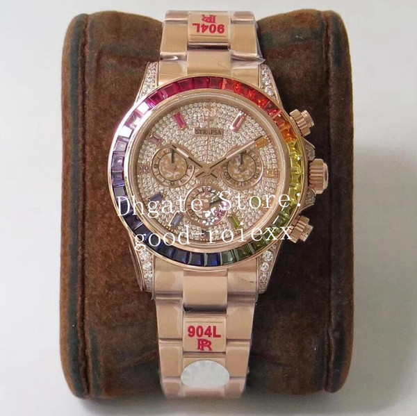 Luxury Gold Mens Automatic Chronograph Eta 7750 Watch 904L Steel Diamond Dial Bezel Men Rainbow 116598 Cosmograph Day tona Valjoux Watches