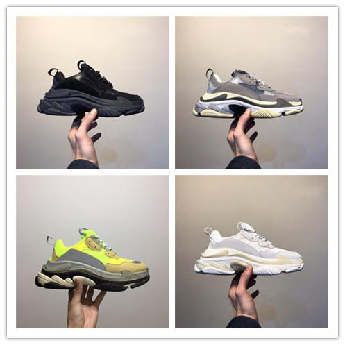 top popular 2019 new Cheap Fashion Paris 17FW Triple S Sneakers Triple-S Casual Dad Mens Designer Shoes for Women Beige Black Sports Trainers Chaussur 2019