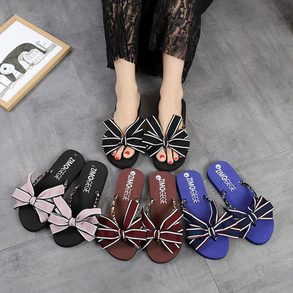 SAGACE Shoes Flip flops fashion Bow Summer Sandals Slipper Indoor Outdoor Flip-flops Beach casual shoes women 2018JU12