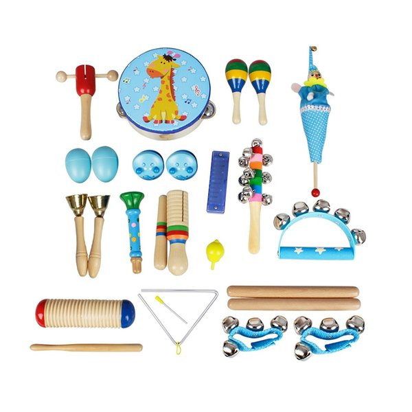top popular Musical Toys Percussion Instruments Band Rhythm Kit for Kids Children Toddlers with Tambourine Wooden Guiro Handbells Maracas 2021