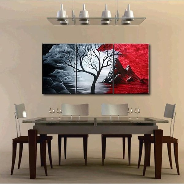 3pcs Unframed Hand-painted Oil Painting Set Natural Scenery Canvas Print Decoration for Home Living Room Bedroom Office Art Picture