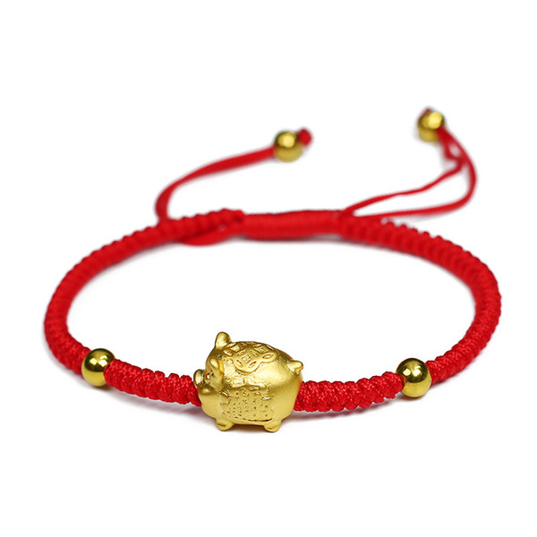Cuerda de oro cerdo rojo pulseras Año de cambio de joyas tejidas a mano el destino de Lucky Piggy cuerda roja pulseras del zodiaco chino