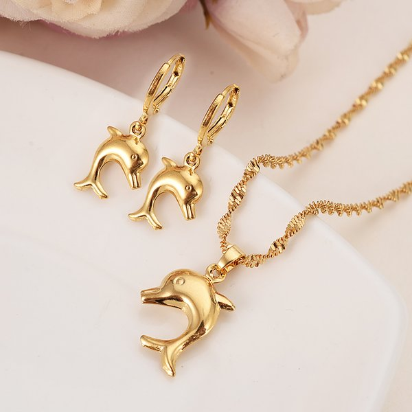 Fashion Jewelry Sets Gold Color Small Size Cute Dolphin Pendant Necklaces and Earrings for Women/Girls,Papua New Guinea Jewelry Party Gifts