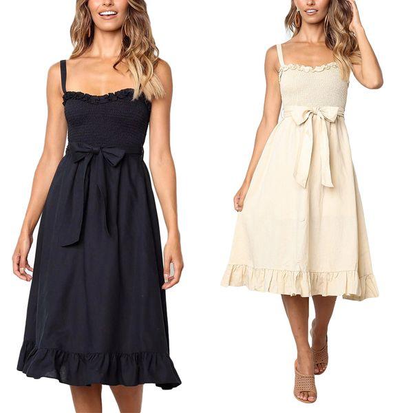 Women Summer Over Knee Dress Girls Solid Color Sling Ruffled Bowknot Dress