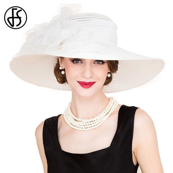 wholesale Elegant White Church Hats Summer Women Large Brim Organza Hat Black Beach Fashion Lady Sun Flowers Derby Hat