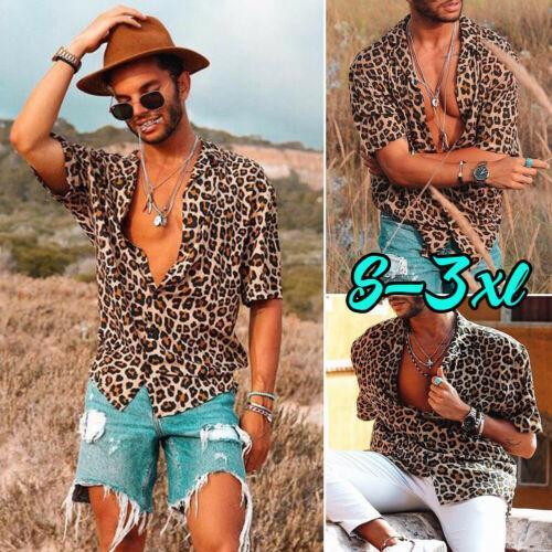2019 Moda erkek Leopar Bluz Yaz Casual Kısa Kollu Gömlek Gevşek V Yaka Leopar Gömlek Üstleri Tee Artı Boyutu S-3XL